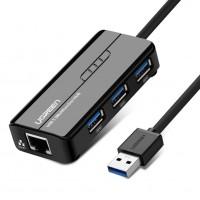 USB-хаб и адаптер Ugreen (3 USB порта, RJ45)